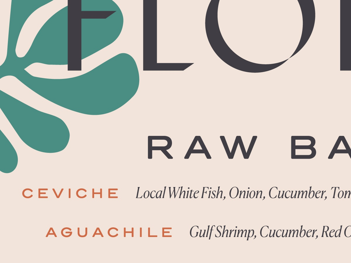 FH Menu Type Explore restaurant branding menu typography type floral