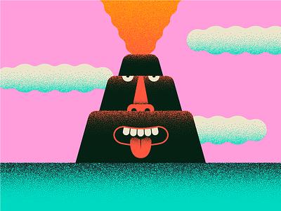 Volcano Bro™ stipple faces spicy character illustration volcano