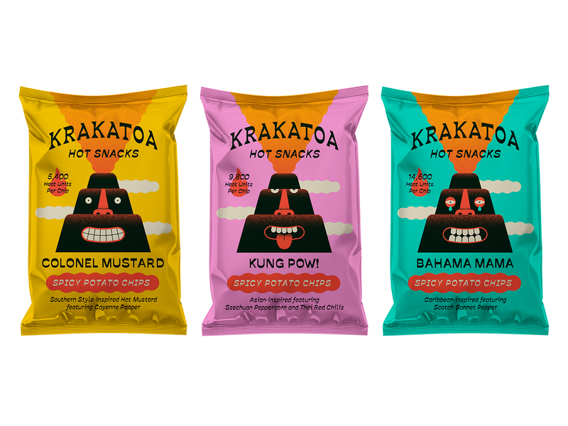 Spicy Potato Chip Bags branding character chips spicy volcano packaging illustration packaging