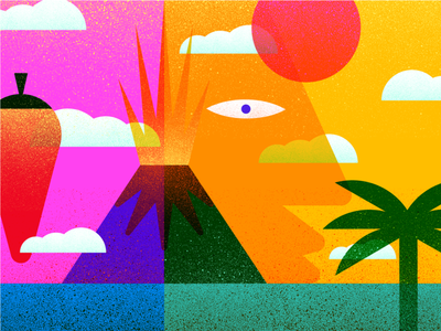 Volcano Illustration Exploration face sun packagingdesign branding pepper packaging volcano illustration