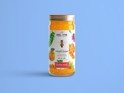 Playa Viva - Honey pattern illustration mexico raw honey honey branding design branding label design packaging design packaging