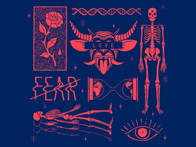 Fuck Fear icons design lettering death demons time fear love pattern bandana flash tattoo illustration
