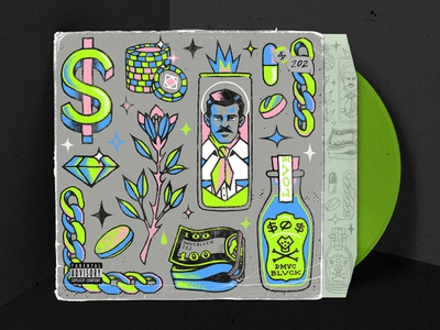 $0$ by DMVCBLVCK music money album art album cover pattern design illustration