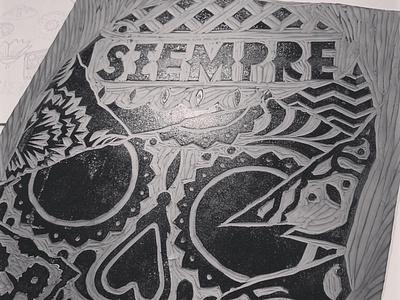 SIEMPRE VIVOS engraving diademuertos dayofthedead linocut illustration