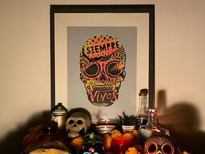 SIEMPRE VIVOS diademuertos dayofthedead engraving linocut illustration