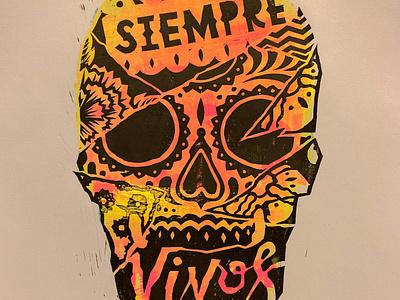 SIEMPRE VIVOS print diademuertos dayofthedead engraving linocut illustration