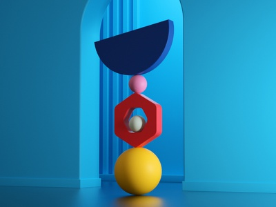 Balance (4) color shapes setdesign artdirection artdirector digitalart balance illustration 3d