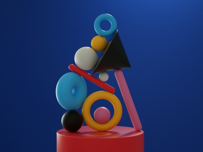 Balance (6) shapes setdesign illustration digitalart color balance artdirector art direction 3d