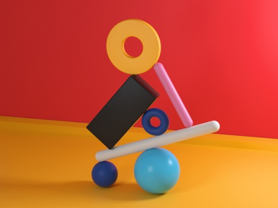 Balance (7) shapes setdesign illustration digitalart color balance artdirector artdirection 3d