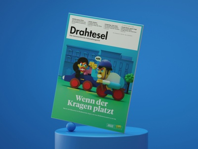 Drahtesel Magazine Cover charactersdesign illustration digitalart color balance vienna bicycle artdirector artdirection 3dillustration 3d