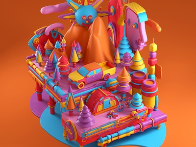 Montaña color design artdirection artdirector digitalart illustrator colors illustration photoshop 3d