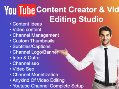I will be your youtube content creator and video editing studio animation illustration fiverrgigs fiverr.com fiverr youtube video editor logo design branding youtuber youtube content creator video editor
