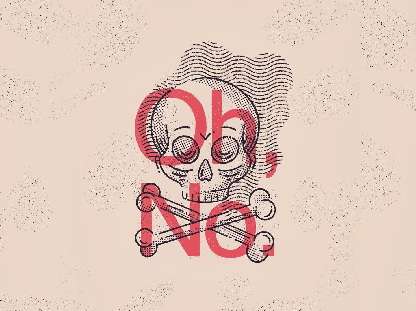Getting Old dread existential oh no old man skull typography texture illustration