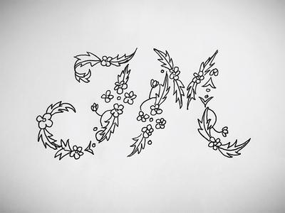 JM lettering jm floral pattern type hand lettering daily lettering hand type inktober practice sketch