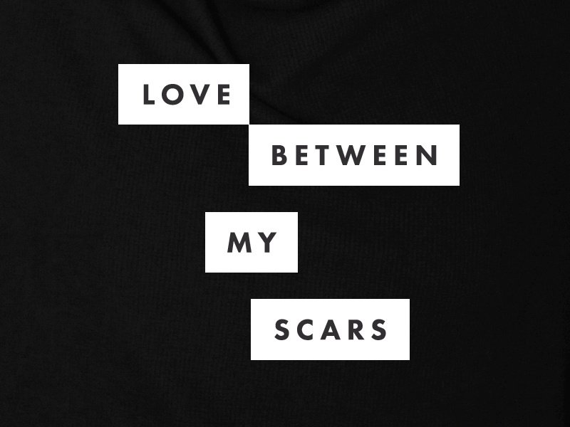 Love Between My Scars black and white type design book cover futura