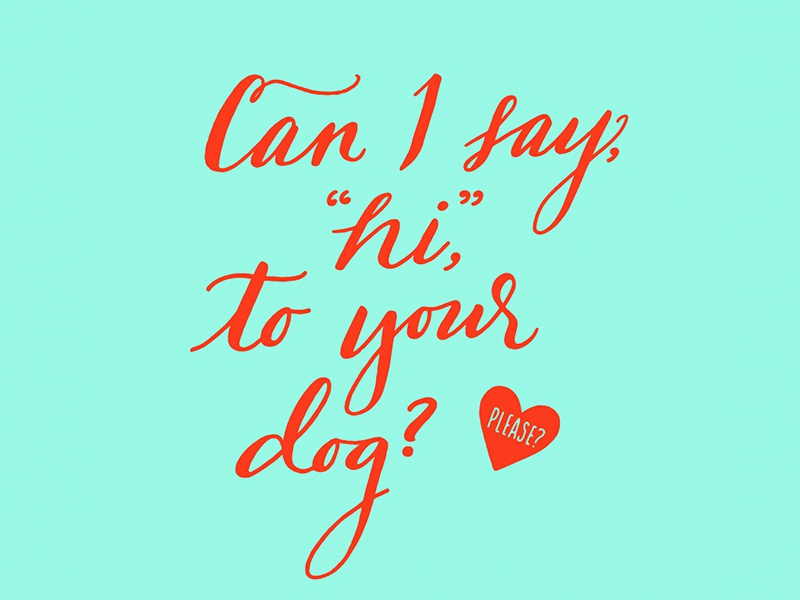 "Can I say, ""Hi,"" to your dog? Please? hand lettering bright dog heart script lettering"
