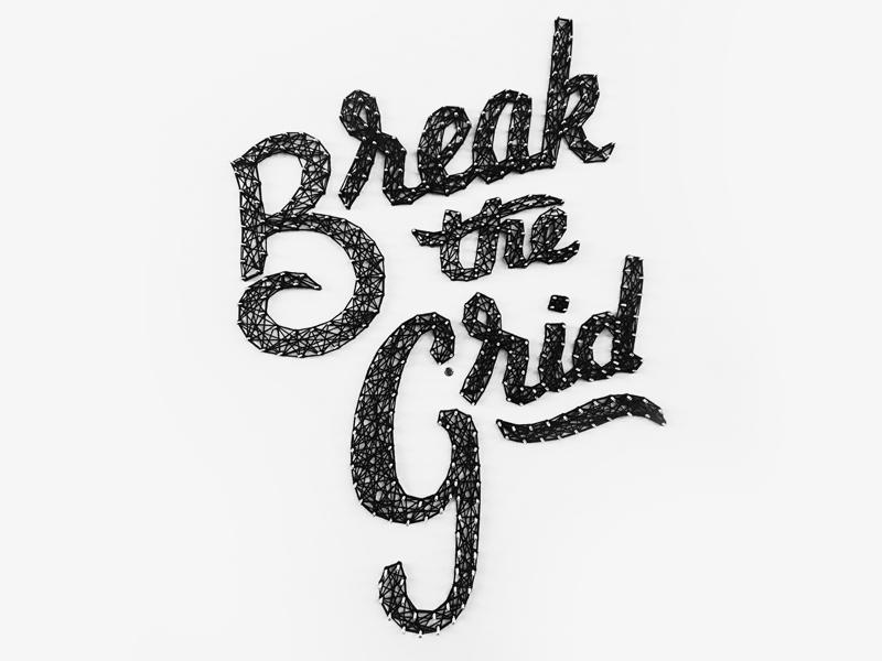 Break the Grid Wall Installation project 3d installation yarn script lettering
