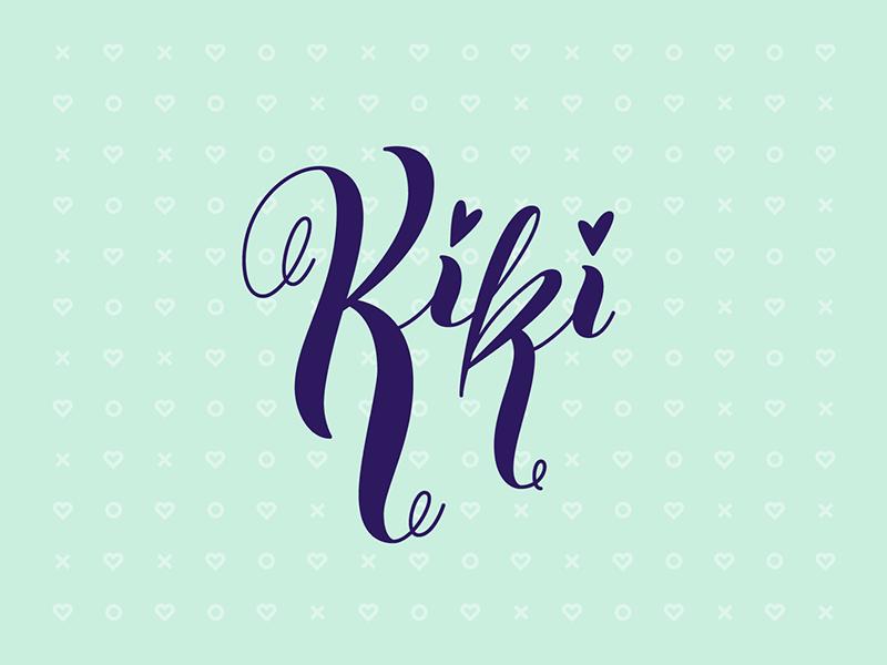Kiki in my feelings xoxo vector curl script lettering heart love kiki