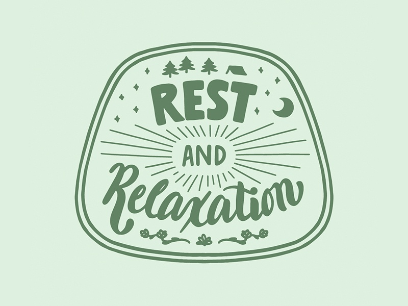 Rest and Relaxation trees type green patch design woods nature camp hand type sketch hand lettering script lettering