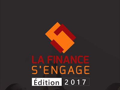 LA FINANCE S'ENGAGE logo typography illustration design