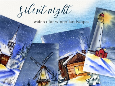 """Silent night"" watercolor set hand painted magic new year night landscape nature christmas art watercolor illustration"