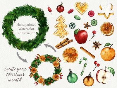 """Christmas wreath"" watercolor constructor candy fruit cookie gingerbread winter tasty new year art food christmas design decor watercolor illustration"