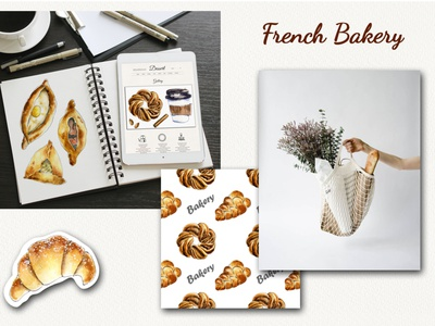 """French Bakery"" watercolor set doodle sweet sketch tasty bakery food hand painted art watercolor illustration"