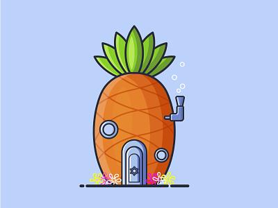 Spongebob House ui  ux ui design graphic design vector illustration flat illustration flat design flat illustration icon design