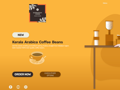 Landing page of a Coffee brand. visual design illustration uidesign interaction design coffeeshop webdesign 100daychallenge dailyuichallenge dailyui