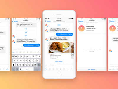 FoodMood Bot for Messenger food iphone gradient product ux ui bot messenger facebook