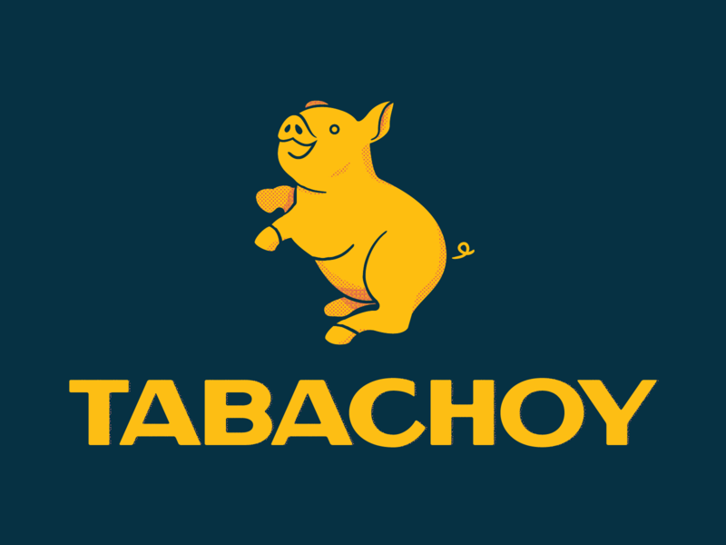 Tabachoy Brand food filipino pig halftone food truck restaurant branding typography design logo illustration