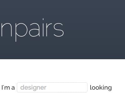 designpairs form field experimentation