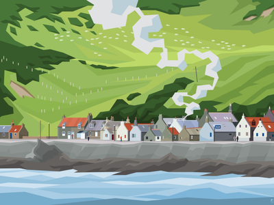 Village illo vectorart landscape architecture illustrator flatdesign illustration village