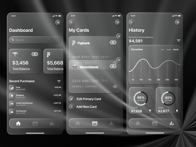 Glassmorphism creative product design uidesign uxdesign minimal design dashboard financial app app ux ui
