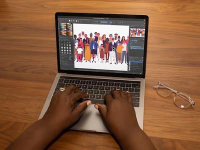 Diversity portrait allhands website flat minimal branding web illustration vector ui design figma
