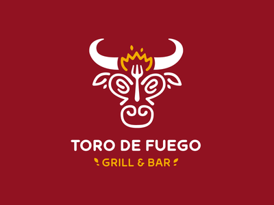 Toro de Fuego steakhouse steak fork meat spain illustration design branding red animal bar grill bull fire restaurant logotype logo