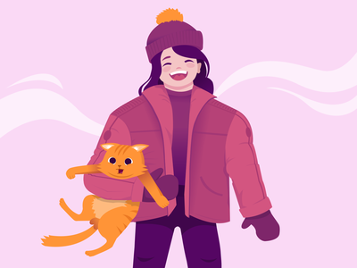 New family member smile friendship balls kindness memories childhood yellow pinky friends cat friend winter abstract people 2d art vector illustration