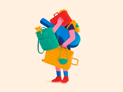 Vacation with a girlfriend backpack man comfort summer traveler 2d art luggage baggage girlfriend travel journey people vector illustration