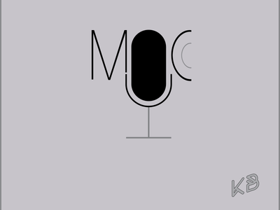 Mic typography vector logo illustration flat design minimal sound musiq mic