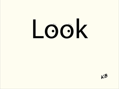 Look typography vector logo minimal illustration flat design eyes look