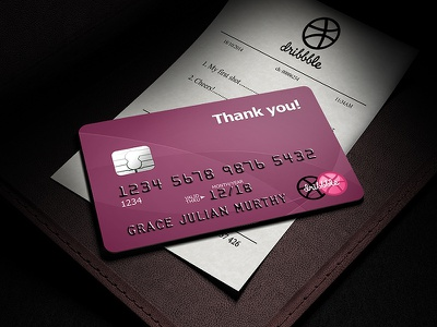Thank U! dribbble first shot thank you debut credit card card invitation invite