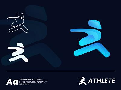 ATHLETE LOGO blue inspiration design 2021 new logo logo idea gradient illustration typography abstract branding vector ui brand design best logo modern logo logotype