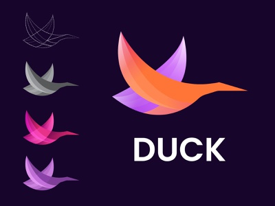 Duck Logo color best shot top mobile app logodesign minimal duck gradient logo graphicdesign mobile typography illustration logotype abstract ui logo idea brand design best logo 2021 modern logo