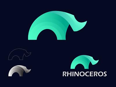 Rhinoceros logo popular 2021 trandy logos gradient abstract typography designs ux modern logo best logo branding ui logotype logo design logo