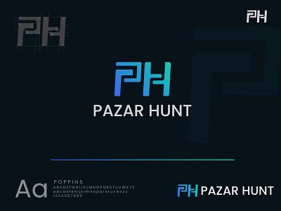 Pazar Hunt Logo illustration brand design ui design vector 2021 best logo modern logo branding logo
