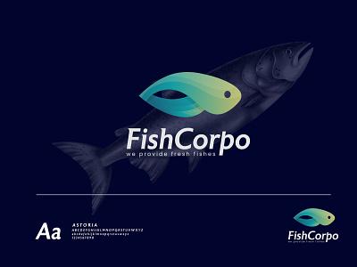 FishCorpo Logo illustration animation 3d graphic design motion graphics 2021 logo ui design vector brand design best logo branding modern logo