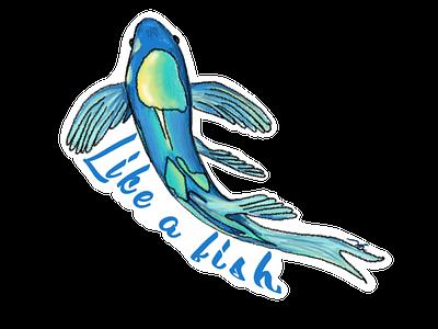 Like a Fish clothing brand logo digitaldesign procreate app digital illustration artist digitalart procreate art procreate