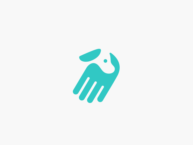 Hand + dog negative space retriever pugacheva logo help handler hand finger dog assistant