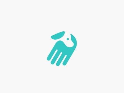 Hand + dog negative space retriever pugacheva logo help handler hand finger dog assistant