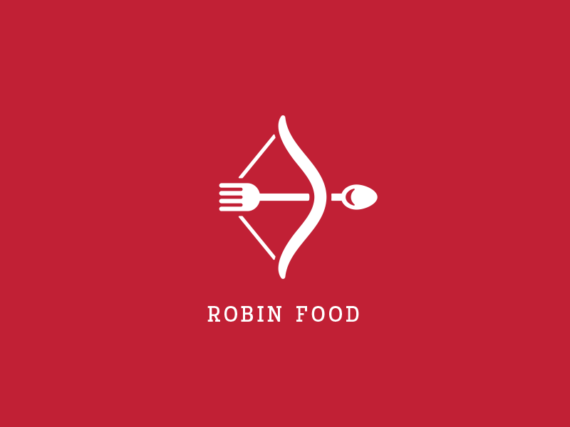 Robin Food good pugacheva robin good restaurant logo cook spoon fork bow arrow food robin